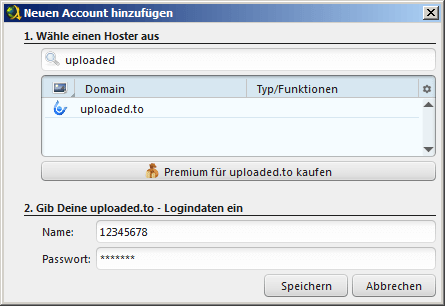 Uploaded Premium Account einrichten Jdownloader